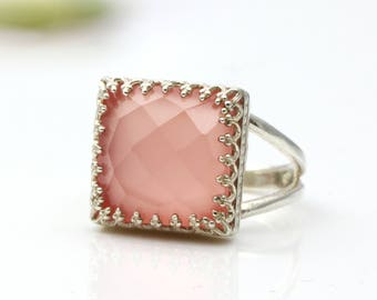ETSY BIRTHDAY SALE - Pink chalcedony ring,square gemstone ring,square ring,silver ring,prong ring,solitaire ring,handmade ring