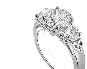 e6e9f532b Celtic Ring Women, Celtic Engagement Ring, Trinity Knot Ring, Three Stone  Engagement Ring, Cubic Zirconia Ring Silver, CZ Engagement Ring