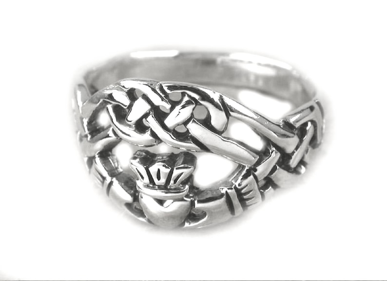 8a446f6fb Silver Claddagh Ring Celtic Knot Ring Claddagh Irish Ring | Etsy