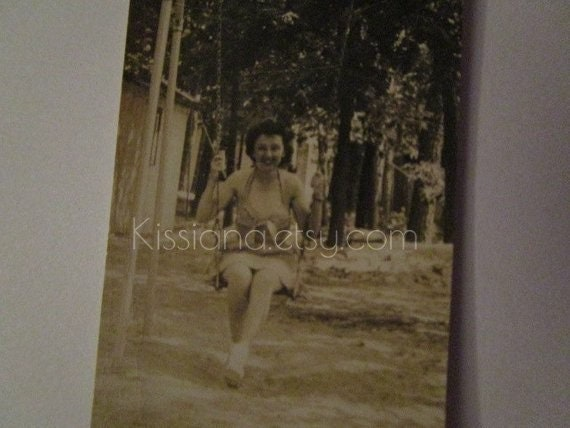 Vtg Tiny B W Photo Of Woman On Swing Looks Like Dorothy From Wizard Of Oz On Summer Break