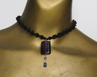 Amethyst quartz and blue iolite gemstone necklace made with black spiral-knotted hemp. Long ties in back. HCK-935