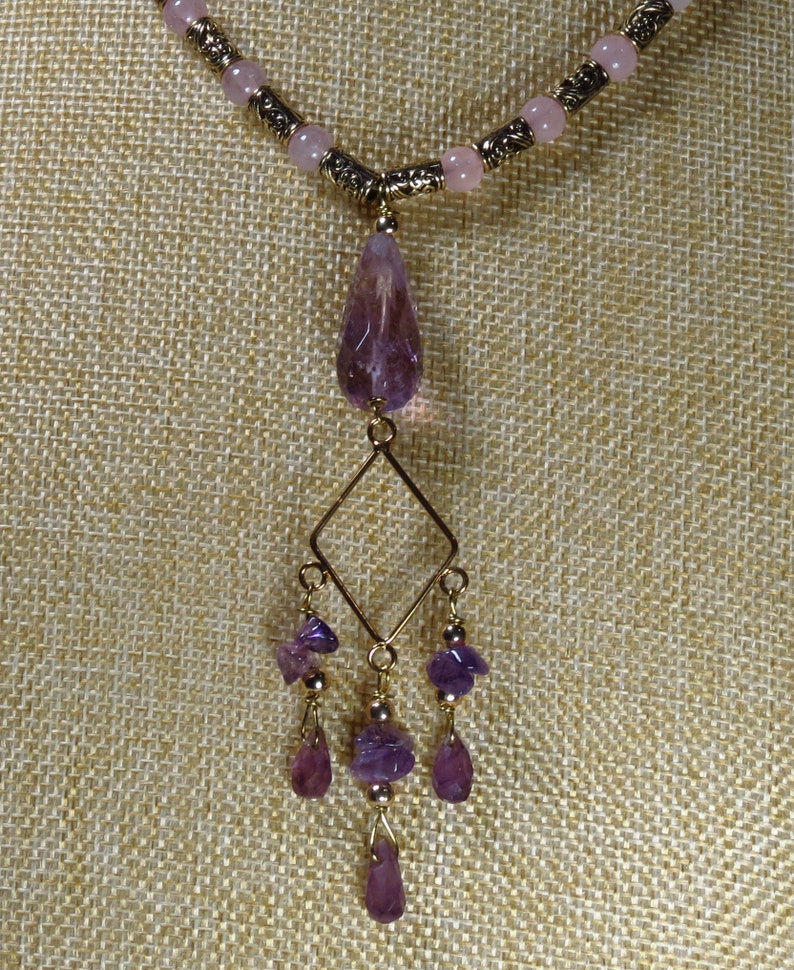 DS-N-144 Pink and Purple stone with golden accents Amethyst and Rose Quartz Gemstone Necklace