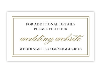 Wedding Website Cards / Invitation Inserts, Gold with Double Border / Enclosure Cards / Wedding Information / Details / Printed or Printable
