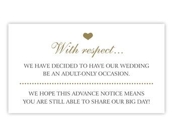 Adult Only Wedding Invitation Insert Cards / No Kids / No Children Allowed at Wedding (Gold / Black) (Printed or Printable)