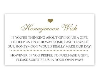 Honeymoon Fund Card / Wedding Invitation Insert / Enclosure Card for Honeyfund Website / Honeymoon Wish / Gold & Black / Printed / Printable