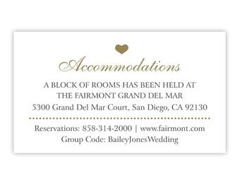 Accommodations Card / Wedding Invitation Insert For Hotel / Room Block Information / Printed or Printable