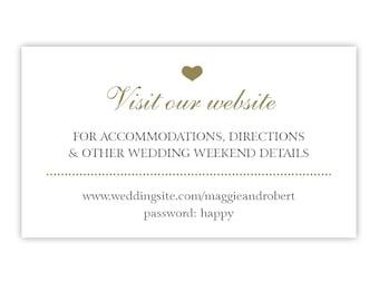 Wedding Website Cards / Wedding Invitation Insert Card for Gift Registry, Honeymoon Fund, RSVP / Gold and Black / Printed or Printable
