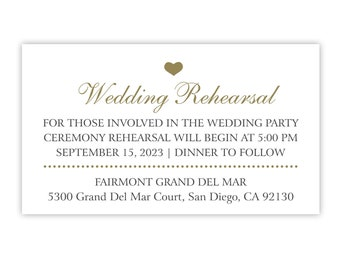 Wedding Rehearsal Card or Rehearsal Dinner Invitation Insert / Enclosure Card for Ceremony Rehearsal / Gold and Black / Printed or Printable