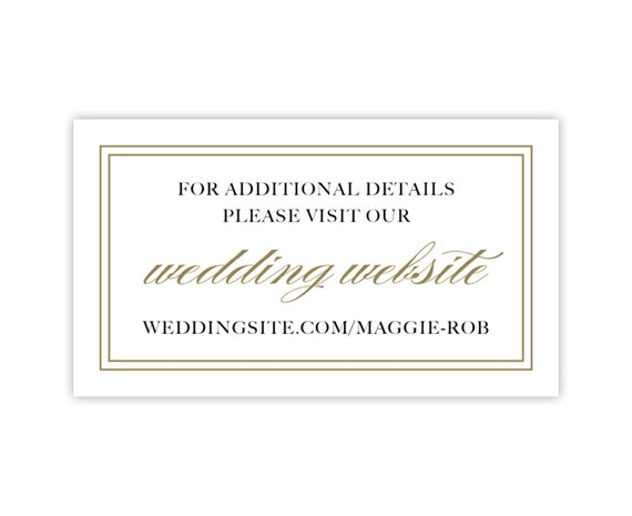 Wedding Website Cards, Enclosure Cards, Wedding Hashtag Cards or Gift Registry Cards, Printed, White with Gold Border, 20 Pieces Per Order
