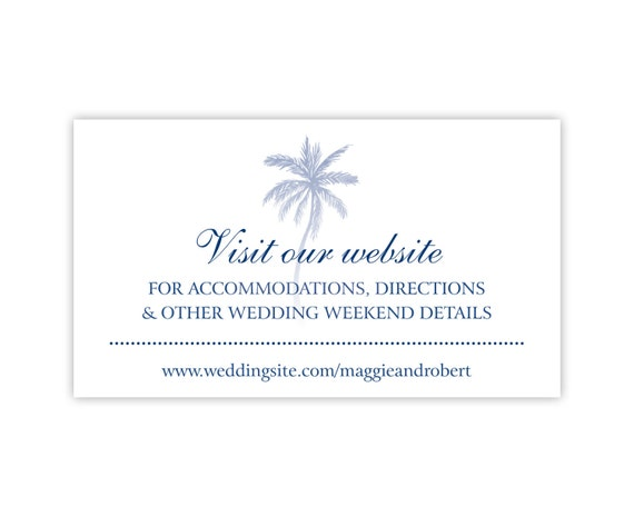 Wedding Website Cards, Enclosure Cards, Wedding Hashtag Cards or Registry Cards, Printed White with Navy Blue Palm Tree, 25 Pieces Per Order