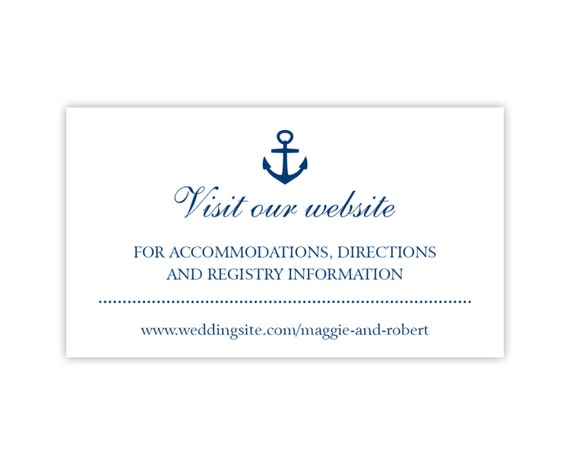 Wedding Website Cards, Enclosure Cards, Wedding Hashtag Cards or Gift Registry Cards, Printed, White with Navy Anchor, 25 Pieces Per Order
