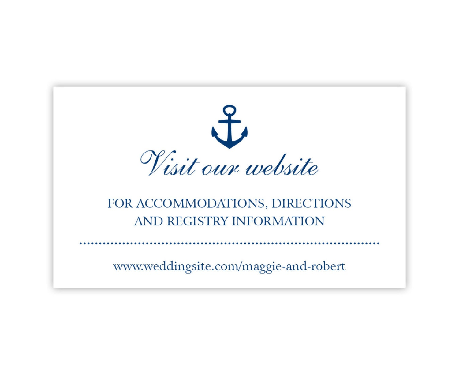 wedding website cards enclosure cards wedding hashtag cards or gift registry cards printed white with navy anchor 20 pieces per order