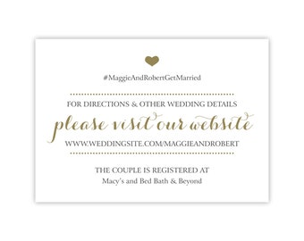 Wedding Website Cards / Invitation Insert / Enclosure Cards for Hotel Information, Accommodations, Registry, RSVP / Gold and Black / Printed