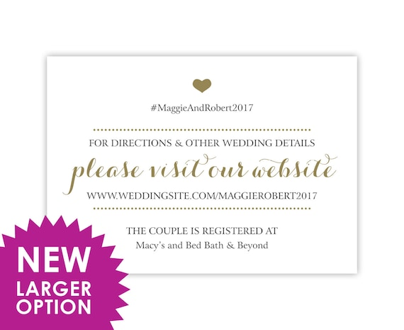 Wedding Registry Cards, Enclosure Cards, Wedding Website Cards or Hashtag Cards, Printed, White with Gold Heart, 20 Pieces Per Order