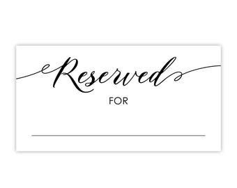 Reserved Sign / Reserved Seating For Family / Parents of the Bride or Groom / Wedding Table or Chair / Black or Gold / Printed or Printable