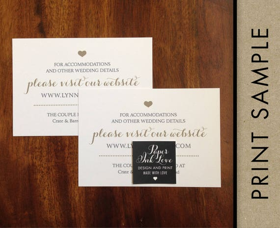 Wedding Registry Cards, Enclosure Cards, Wedding Website Cards or Hashtag Cards, Printed Inserts, White with Gold Heart, 20 Pieces Per Order