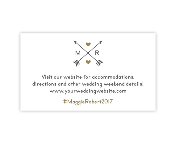 Wedding Website Cards, Enclosure Cards, Wedding Hashtag Cards or Registry Cards, Printed, White, Gold, Arrows, Monogram, 25 Pieces Per Order