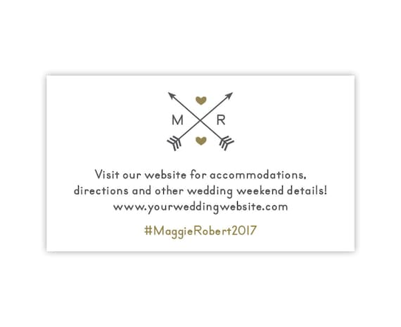 Wedding Website Cards, Enclosure Cards, Wedding Hashtag Cards or Registry Cards, Printed, White, Gold, Arrows, Monogram, 20 Pieces Per Order
