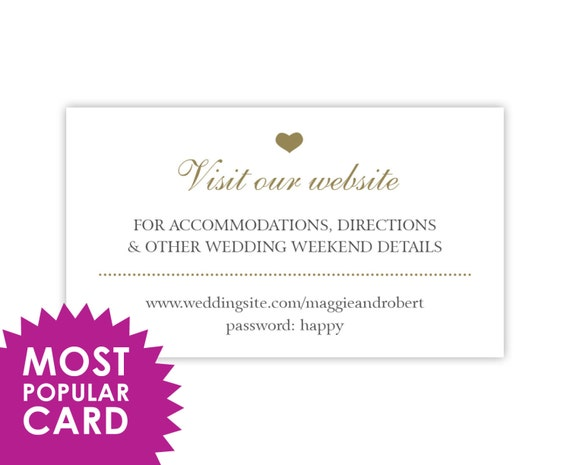 Wedding Website Cards, Enclosure Cards, Wedding Hashtag Cards or Gift Registry Cards, Printed, White with Gold Heart, 20 Pieces Per Order