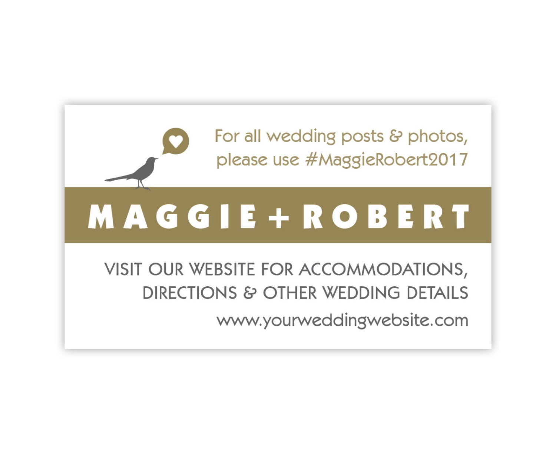 Wedding Gift Registry Website: Wedding Website Cards, Enclosure Cards, Wedding Hashtag