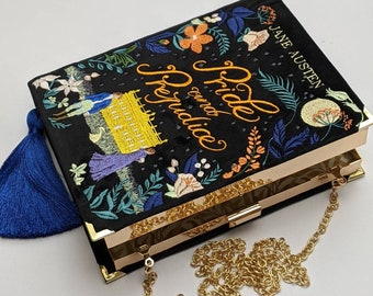 Embroidered Book Bag Clutch Purse Pride & prejudice