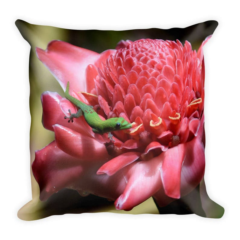 Decorative Square Pillow Case Home Decor Accent HAWAIIAN GECKO on Hot Pink FLOWER 22x22 inches green lizard tropical exotic plant