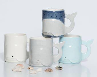 Pottery mug, Whale Mug, Beach Large Ceramic Coffee Mug