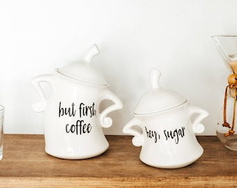 But First Coffee | Kitchen Canister Set | Choose from 1 or 2 pieces | but first | coffee | Sugar | Kitchen Canister