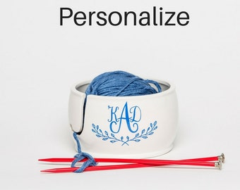Ceramic Yarn Bowl | Personalize | Yarn Bowl | Gift for Sister | Monogram Gift | handmade pottery from my Charleston, SC studio
