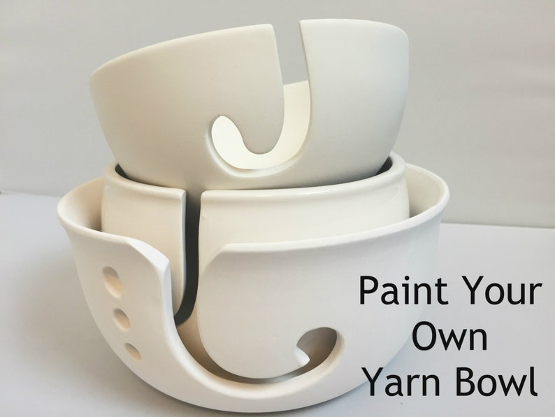 DIY Paint Your Own Yarn Bowl  Ceramic  Yarn Bowl  Choose image 0