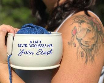 Ceramic Knitting Bowl | Funny Yarn Bowl | Knitting Bowl | Ceramic | handmade in my Charleston Studio