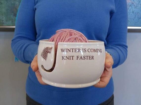 Game of Thrones CROCHET Yarn Bowl Winter is Coming Grey Inside