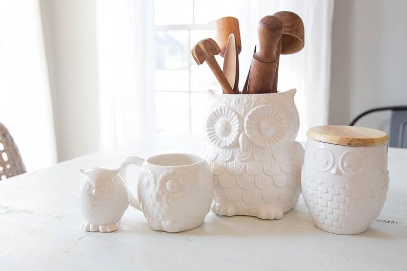 Owl Gift  Kitchen Decor  Pottery Mug  Large utensil crock image 0