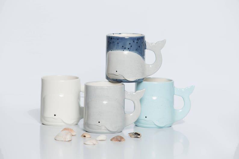 Pottery mug Whale Mug Beach Large Ceramic Coffee Mug image 0