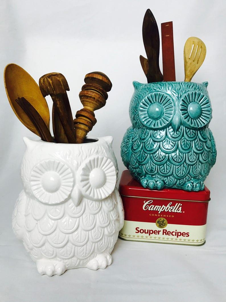 Utensil Holder  Teal Large utensil crock holder  Flower Vase image 0