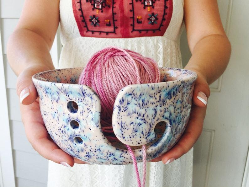 Pink Yarn Bowl  Handmade Ceramic  Yarn Bowl  Crochet Bowls image 0