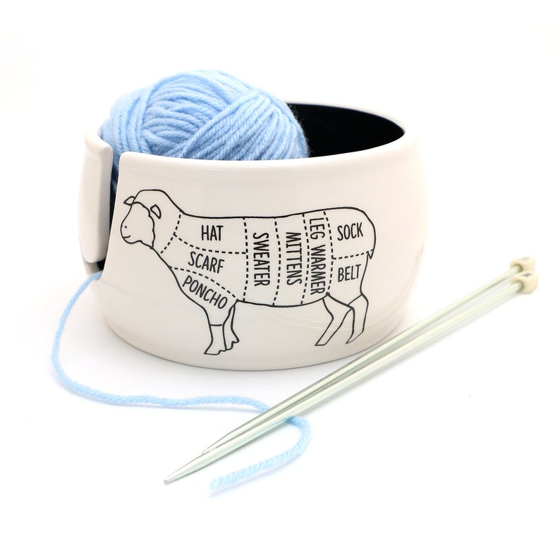 Sheep Yarn Bowl Sheep Parts Yarn Bowl Ceramic Yarn Bowl image 0
