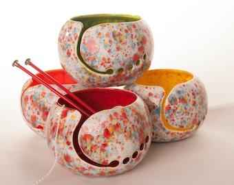 Knitting Ceramic Yarn Bowl Choose your inside color - Yarn Bowl handmade in my Charleston, SC studio