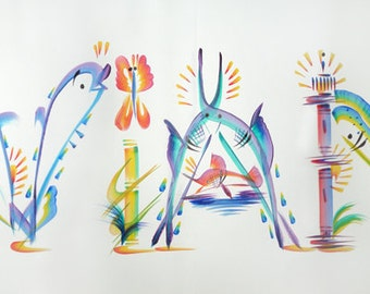 """Name Painting - Tropical Name Art Hand Painted """"Aviana"""" (Or Substitute Any 6 Letter Name)"""