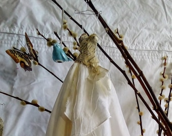 Assemblage style Art Dress Made From Paper and Vintage Fabric