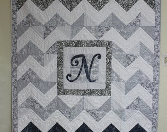 Quilt--Chevron Personalized with Initial