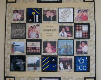 T-shirt and Photo Memory Quilt with 10 Pictures and t-shirts