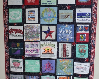 T-shirt Quilt With 30 blocks and Personalized Label