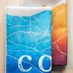 flour sack kitchen towel dish towel tea towel Colorado Mountain range and Boulder Flat Irons orange set of 2