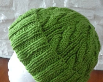 Guacamole Cable Hand-Knit Hat. Super soft, for men or women- Ready to be Shipped