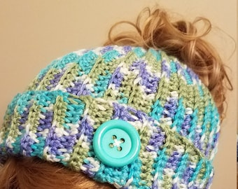 Multi Color Messy Bun Hat. Super soft, for teens or adults - Ready to be Shipped