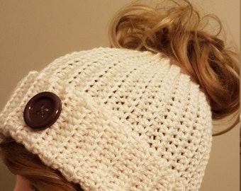 Off White Color Messy Bun Hat. Super soft, for teens or adults - Ready to be Shipped