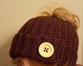 Dark Chocolate Color Messy Bun Hat. Super soft, for teens or adults - Ready to be Shipped