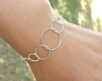 Silver Five Or Four Circle Bracelet Gift 50th Birthday Gifts For Women 40th Anniversary