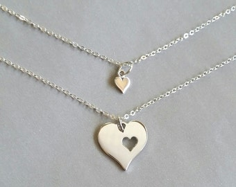 Mother Daughter Heart Necklace, Sterling Silver or Gold Heart Cutout Mother and Daughter Necklace, gift set for mother and daughter